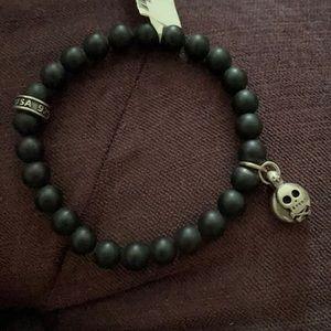 🖤💀Kkng Baby Black Onyx Silver Skull .925 Bracele